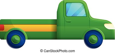 Green pickup icon, cartoon style