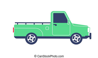 Green pickup truck rides - looped animation with alpha...