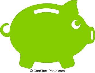 Green pig money icon