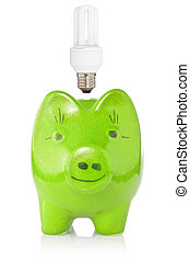 Green piggy-bank with lightbulb