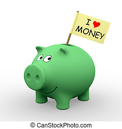 "Green piggybank with ""I love money"" written on a flag (3D rendering) - A clipping path is embedded to isolate the subject (no shadow)"
