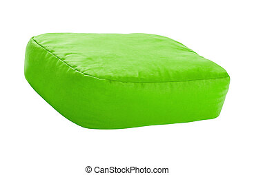 green pillows isolated on white
