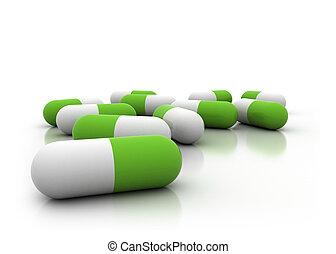 Green pills - Herbal medicine 3d illustration - pills on...