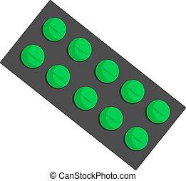 Green pills, illustration, vector on white background.