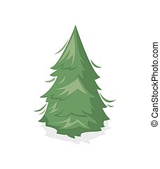 Green pine tree isolated icon