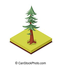 Green pine tree isometric 3D icon