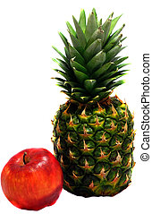 Green pineapple and red apple isolated on white background
