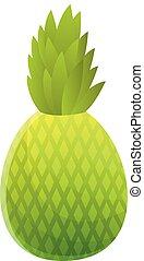 Green pineapple icon, cartoon style