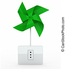 green pinwheel over energy plug