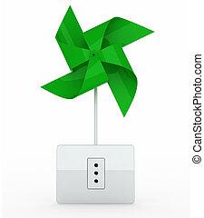 green pinwheel over energy plug
