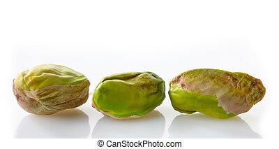 pistachios on a white background