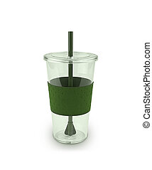Green plactic cup