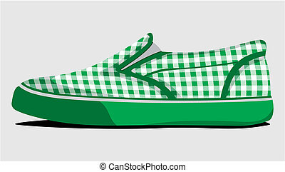 Green plaid summer shoes