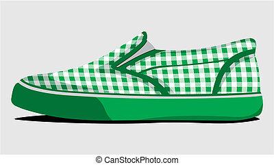 Green plaid summer shoes