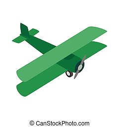 Green plane icon, isometric 3d style