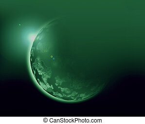 green planet 3d illustration in universe concept