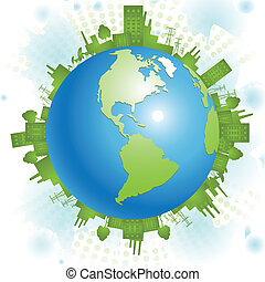 green planet - abstract illustration, green civilization on...