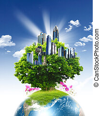 Green planet against blue sky and clean nature