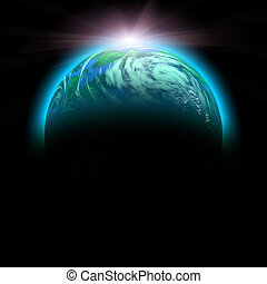 green planet and rise sun