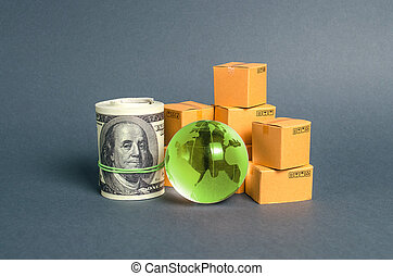 Green planet earth globe, bundle of money and cardboard boxes. Business and commerce. Production and export of products and goods around the world. Globalization, shipping, delivery and transportation