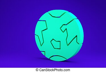 Green Planet Earth icon isolated on blue background. Minimalism concept. 3d illustration 3D render