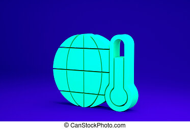 Green Planet earth melting to global warming icon isolated on blue background. Ecological problems and solutions - thermometer. Minimalism concept. 3d illustration 3D render