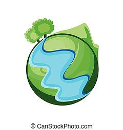 green planet earth on white background