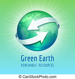 Green planet Earth with white arrows