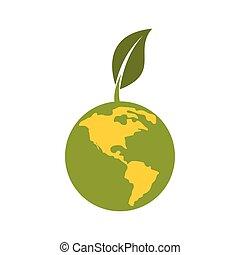 Green planet icon, flat style