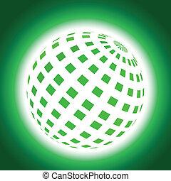 Green Planet Icon on Blue Backgroun