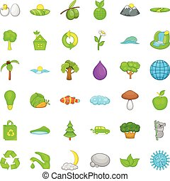 Green planet icons set, cartoon style