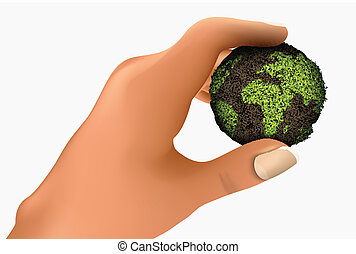 green planet in the palm