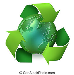 Green planet earth with green recycling arrows spinning around