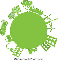 Green planet simple logo