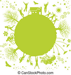 green planet - A funky vector illustration of a green planet
