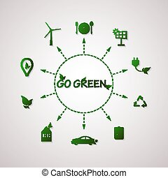 Green planet vector info graphic illustration. Ecology flat design