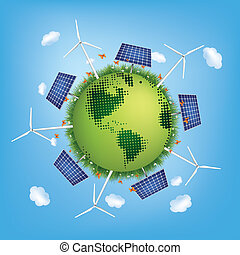 Green Planet with Solar Panels and Windmills. Vector.