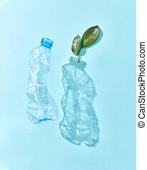 Green plant and crumpled plastic bottle with shadows.