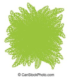 Green plant design element with place for text, vector.