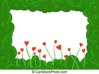 Green plant frame with hearts