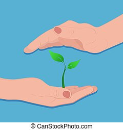 green plant growing in hand, vector