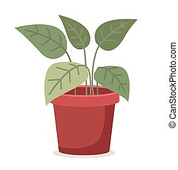 Green plant in red ceramic flower pot. Planting isolated on white background vector illustration