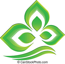 Green plant logo vector - Green plant icon vector background...