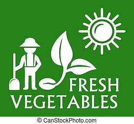 green plant symbol - green agriculture symbol with man and...