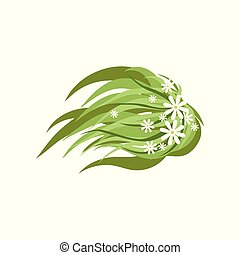 Green plant with flowers, landscape design element, top view vector Illustration on a white background
