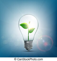 Green plant with leaves inside the electric light bulb.
