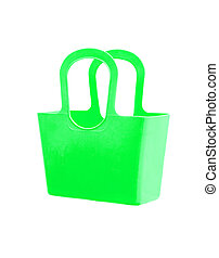 Green plastic bag isolated on white