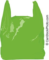 green plastic bag realistic vector illustration isolated no ...