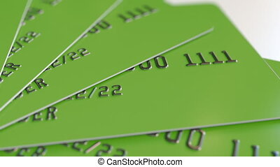 Green plastic bank cards, loopable animation