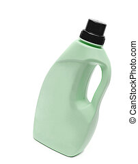 green plastic bottle isolated on a white background